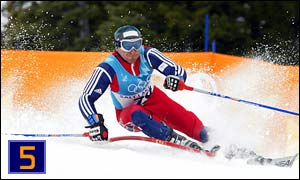 Britain's Alain Baxter on his way to the bronze medal in the men's slalom final