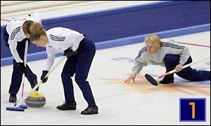 Rhona Martin's British women's curling team in action during their gold medal win