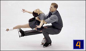 Canadian skating duo Jamie Sale and David Pelletier in action during the pairs final