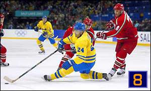 Belarus caused a sensation by beating mighty Sweden in the ice hockey quarter-finals