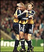 Christian Ziege celebrates his goal with Teddy Sheringham and Les Ferdinand