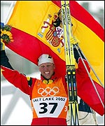 Johann Muehlegg proudly flies the flag of his adopted country Spain
