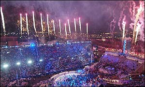 Nearly 10,000 fireworks were set off at the closing ceremony of the Winter Olympics