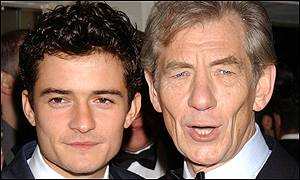 McKellen (right) went to the Baftas with co-star Orlando Bloom