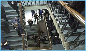 Pupils on school stairs