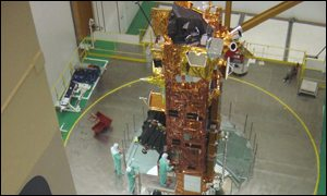 Envisat about to be loaded on to the rocket (Astrium)