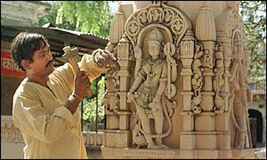 Artisan carves statue of deity on pillar to be installed at Ayodhya temple