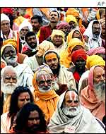 Hindu activists at a rally