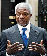UN Secretary General Kofi Annan, shown here in London, 25 February