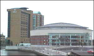 Waterfront Hall and Hilton hotel in Belfast