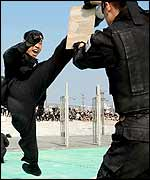 South Korean special police force perform a martial art drill in front of Seoul World Cup Stadium