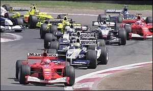 Michael Schumacher leads the Grand Prix field at the 2001 European Grand Prix