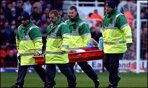 West Ham's Don Hutchison is stretchered off during the game against Middlesbrough