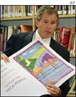 President Bush visits a school