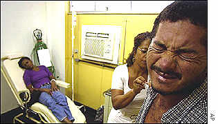 Joao Oliveira dos Santos, sick with dengue, winces upon getting a shot at a public hospital in Rio
