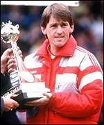 Kenny Dalglish celebrates Liverpool's 1990 League title