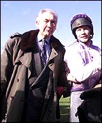 Sir Robert Ogden with jockey Mick Fitzgerald