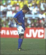 Roberto Baggio misses the crucial kick in the 1994 final