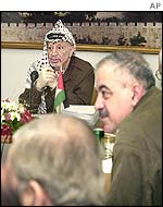 Yasser Arafat with his cabinet ministers