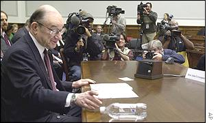 Federal Reserve chairman Alan Greenspan testifying