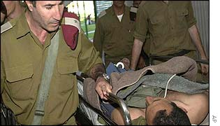 An Israeli soldier is rushed to Beer Sheva hospital after clash with Palestinians in Negev