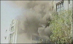 Building burns in Ahmedabad