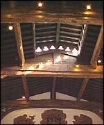 Original timber roof and louvre