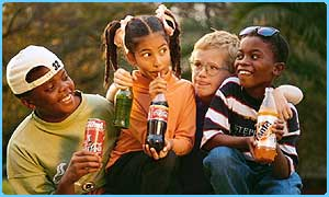 Children drinking fizzy drinks