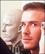 David Beckham has his eyes measured