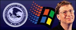 Department of Justice Logo and Bill Gates