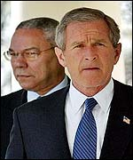 Colin Powell and President Bush
