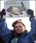 Anti hare-coursing protester