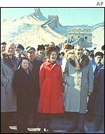 Nixon with his wife Pat and then Chinese Premier Chou En Lai by the Great Wall of China