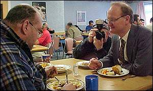 David Willetts at a homeless hostel