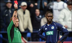 Andy Cole gets his marching orders from referee Paul Durkin in Blackburn's match at Bolton