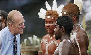 Prince Philip meets performers after the show