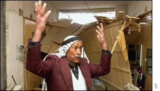 Palestinian man finds his home destroyed by Israeli soldiers