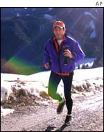 Haider jogs near his mountain home