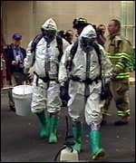 Workers in biohazard suits