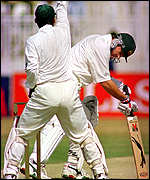 [ image: Waugh is dismissed during the first Test]