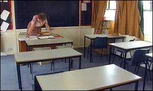 empty classroom with teacher -#main
