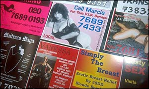 Prostitution phone box adverts