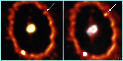 A supernova in 1994 on the left and 1997 on the right