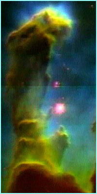 Pillars of gas in the Eagle nebula look like something out of a science fiction comic