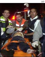 Injured man at Beit Israel