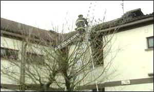 The blaze damaged the roof of the building