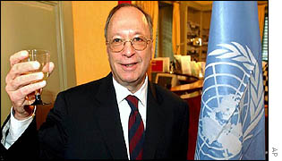 The Swiss ambassador to the UN in Geneva, Francois Nordman, toasts the victory