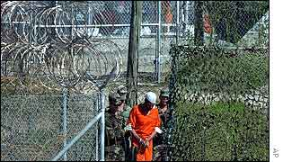 Prisoner taken for interrogation at Guantanamo Bay