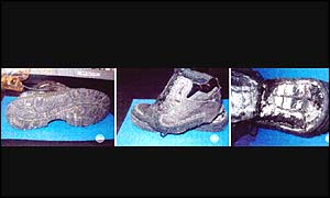 The shoes Richard Reid was wearing on board the flight in December 2001