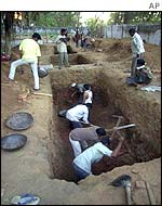 Workers dig graves for Muslims in Ahmedabad